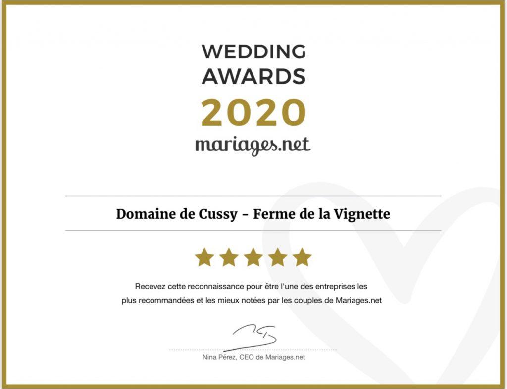 Le domaine de Cussy récompense par Mariages.net sur la qualité de ses prestations