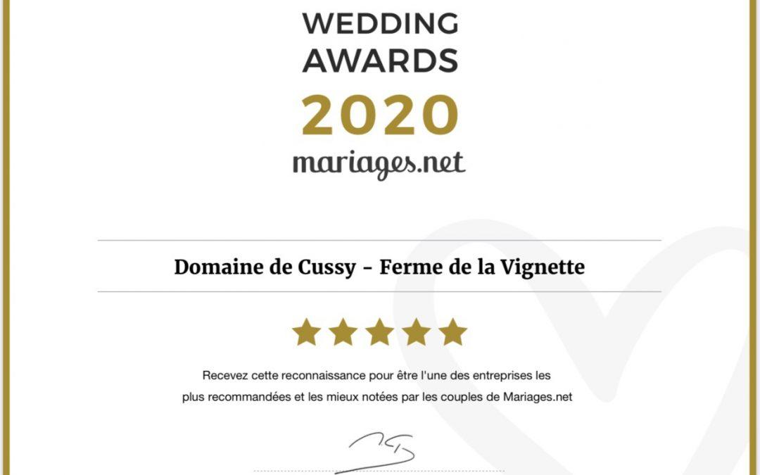 Mariages.net récompense le Domaine de Cussy